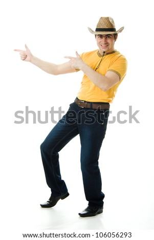 Dancing Cowboy finger points forward on a white background. - stock photo