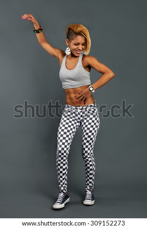 dancing funky girl - stock photo