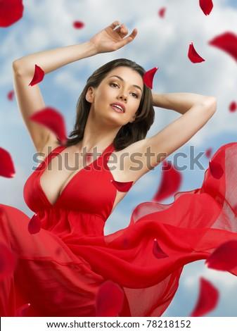 dancing girl in a beautiful dress - stock photo