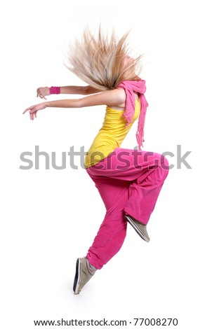 dancing girl. isolated on a white background. - stock photo