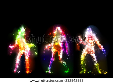 Dancing girls silhouettes - stock photo