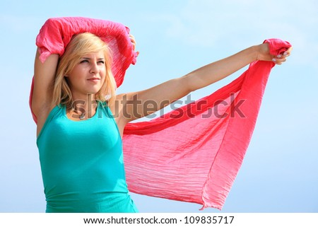 dancing happy girl on the beach woman vacation, summertime fun concept - stock photo