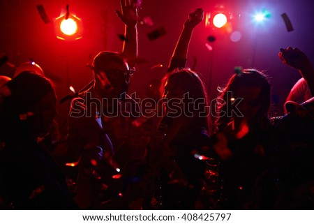 Dancing in confetti - stock photo