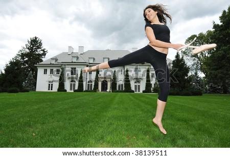 dancing in the garden - stock photo