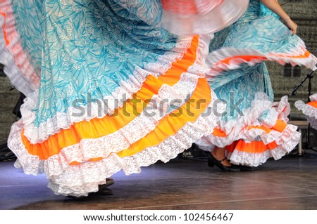 Dancing in traditional costumes - stock photo
