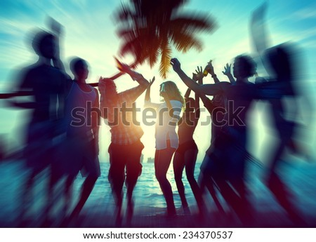 Dancing Party Enjoyment Happiness Celebration Outdoor Beach Concept - stock photo