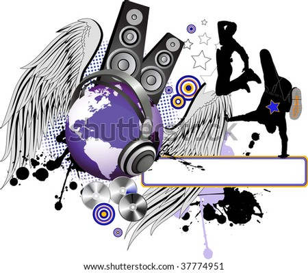 Dancing peoples with wings and Globe. Raster version of vector illustration. - stock photo