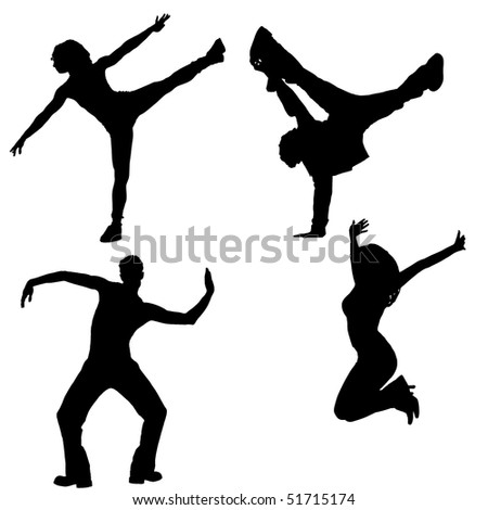 dancing, silhouettes - stock photo