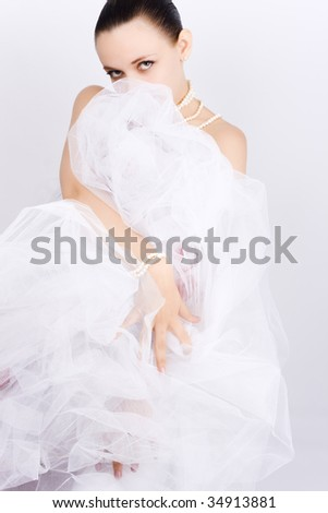 Dancing woman and elegance motion - stock photo