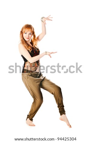 dancing woman isolated on a white background - stock photo