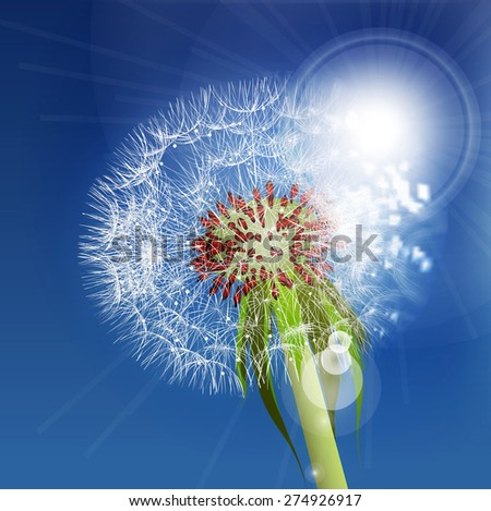 Dandelion seeds blown in the blue sky. - stock photo