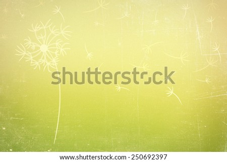 dandelion silhouette on abstract vintage blurred natural background - stock photo