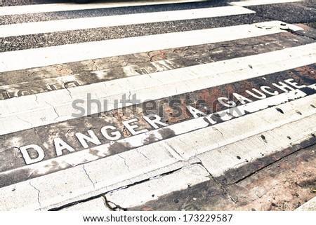Danger a Gauche. - stock photo