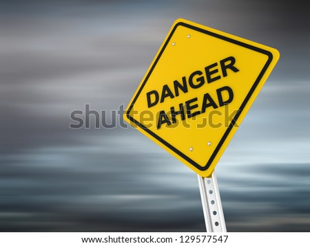 danger ahead , computer generated image. 3d render. - stock photo