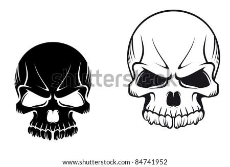 Danger evil skulls for tattoo or mascot design. Rasterized version also available in gallery - stock photo