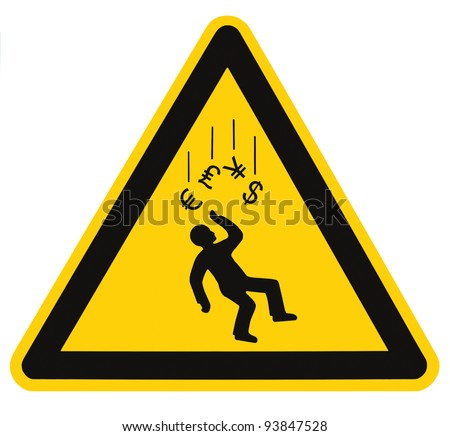 Danger Falling Currencies Objects Warning Sign Concept Isolated, black drop triangle over yellow, large macro, US Dollar, EU Euro, British Pound, Japanese Yen Currency - stock photo