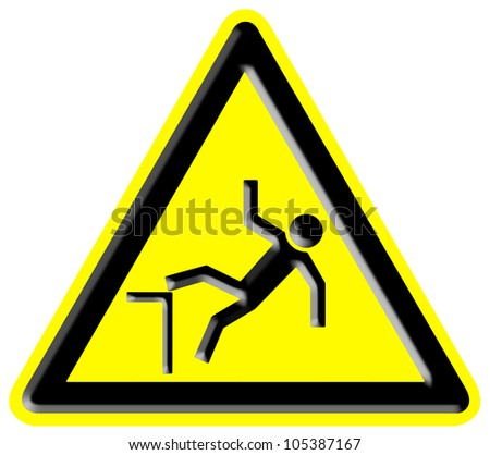 Danger falling from heights sign - stock photo