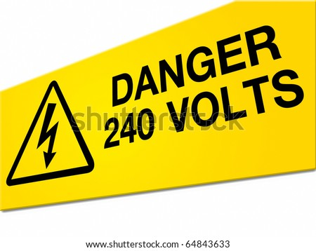 Danger high voltage sign isolated on white background - stock photo