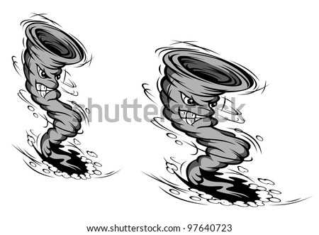 Danger hurricane in cartoon style for weather or disaster design. Vector version also available in gallery - stock photo