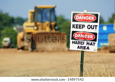 Danger Keep Out, Danger Hard Hat Area signs. - stock photo