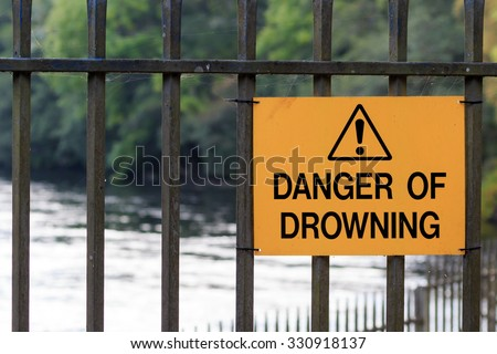 Danger of Drowning sign - stock photo