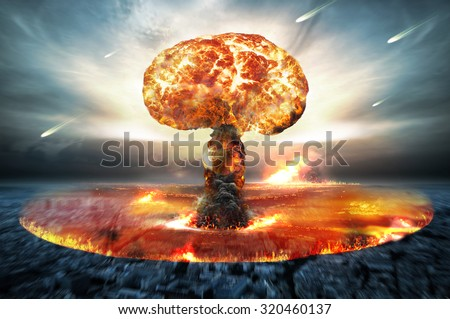 Danger of nuclear war illustration with multiple explosions - stock photo