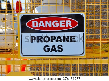 Danger propane gas sign - stock photo