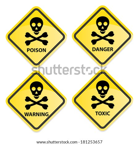 Danger sign collection black border with poison, warning, danger and toxic.  - stock photo