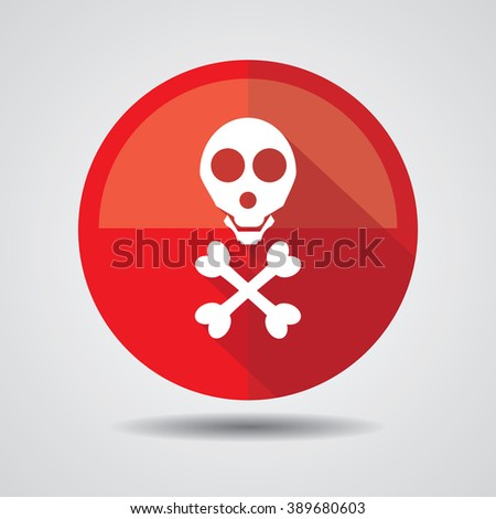 Danger sign of skull and cross bones with color variations. - stock photo