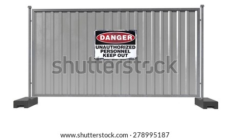 Danger sign on grey metal fence, unauthorized personnel keep out, isolated on white background - stock photo