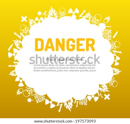 Danger sign set in cloud banner for your text. Hazard symbol template. - stock photo