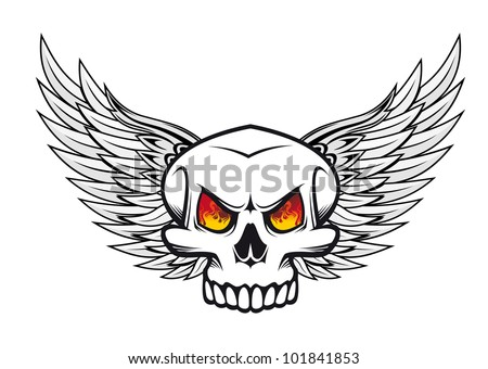 Danger skull with fire eyes and wings for tattoo or mascot emblem, such logo. Vector version also available in gallery - stock photo