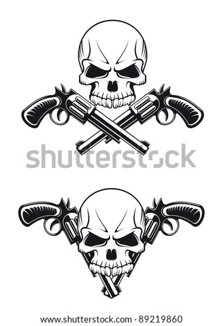 Danger skull with revolvers for tattoo design. Vector version also available in gallery - stock photo