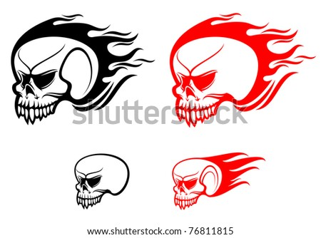 Danger skulls with flames as a warning or evil concept. Vector version also available in gallery - stock photo