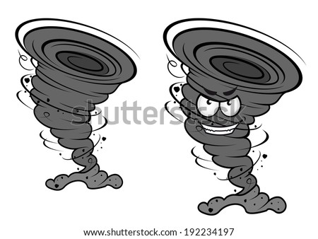 Danger tornado disaster in cartoon style for weather concept or mascot design. Vector version also available in gallery - stock photo