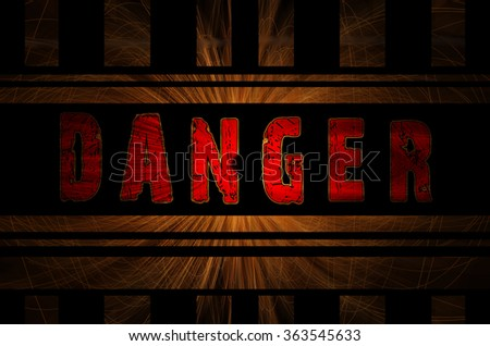 Danger word on hot sparks from spinning steel wool in the background with Gaussian blur effect, Vector Illustration. - stock photo