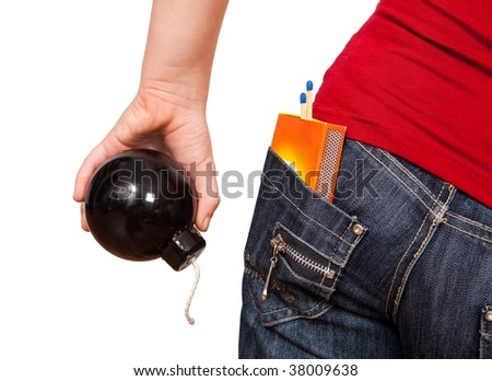 Dangerous girl, holding a bomb in hand and carrying matches in the back pocket - stock photo