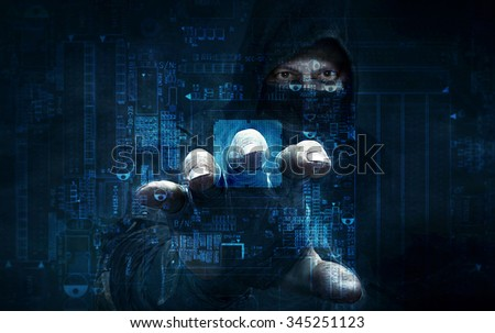 dangerous hacker stealing data -concept - stock photo