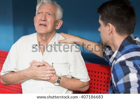 Dangerous heart attack and pain in chest - stock photo