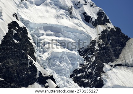 Dangerous ice slope of mount Cook in New Zealand Southern Alps. - stock photo