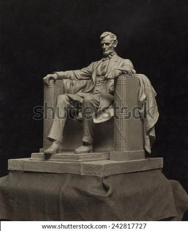 Daniel C. French's working model for the monumental statue for the Lincoln Memorial. Ca. 1916. - stock photo