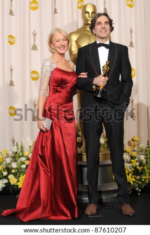 Daniel Day Lewis & Helen Mirren at the 80th Annual Academy Awards at the Kodak Theatre, Hollywood. February 24, 2008 Los Angeles, CA Picture: Paul Smith / Featureflash - stock photo