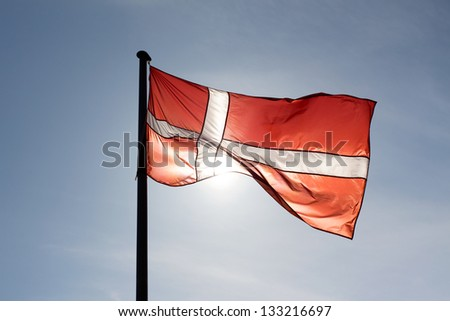 Danish flag in the sunshine - stock photo