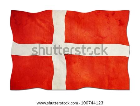 Danish Flag made of Paper - stock photo