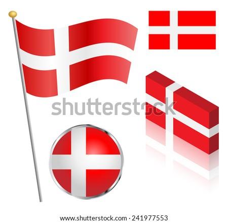 Danish flag on a pole, badge and isometric designs illustration.  - stock photo