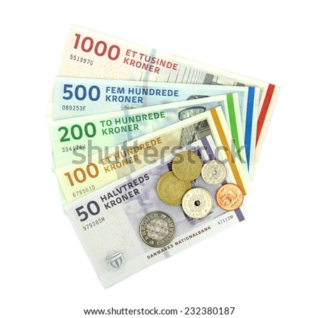 Danish kroner ( DKK ), coins and banknotes. - stock photo