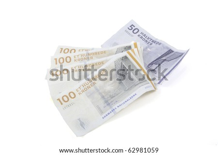 Danish money on a white background. - stock photo
