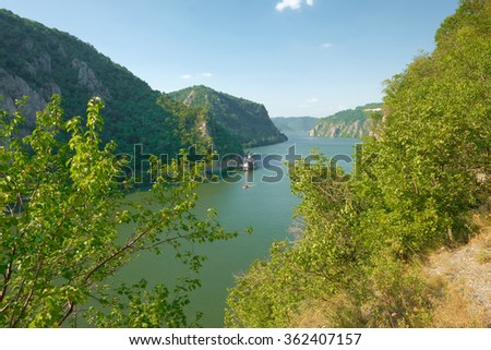 Danube River and Mraconia monastery in Romania from Serbian side - stock photo
