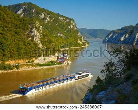 Danube river.  Serbia and Romania border. - stock photo