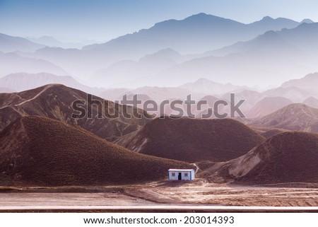 Danxia landform in Zhangye, Gansu of China  - stock photo